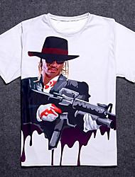 baratos -Homens Camiseta Básico Retrato Algodão Decote Redondo / Manga Curta