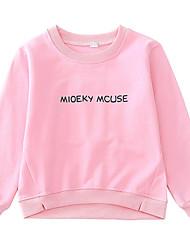 preiswerte -Mädchen T-Shirt Solide Buchstabe Cartoon Design Baumwolle Frühling Herbst Langarm Einfach Niedlich Zeichentrick Rote Rosa