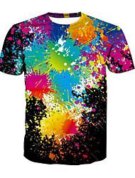 baratos -Homens Camiseta Moda de Rua Arco-Íris / Manga Curta