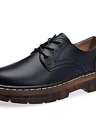 baratos -Mulheres Sapatos Pele Napa Primavera / Outono Conforto Oxfords Sem Salto Botas Cano Médio Preto / Vinho