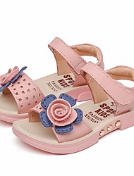 cheap -Girls' Shoes PU Summer Flower Girl Shoes Sandals for Casual White Pink
