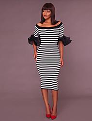 baratos -Mulheres Moda de Rua Tubinho Vestido - Frufru, Listrado Médio