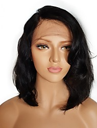 cheap -Unprocessed Human Hair / Remy Human Hair Lace Front Wig Brazilian Hair Wavy Wig Bob Haircut / Short Bob / Deep Parting 130% Natural Hairline / For Black Women / 100% Hand Tied Natural Women's 8-14