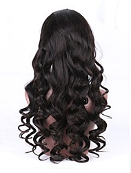 cheap -Unprocessed Human Hair Full Lace Wig Brazilian Hair Wavy Wig With Ponytail 130% With Baby Hair / Natural Hairline Black Women's Short / Long / Mid Length Human Hair Lace Wig