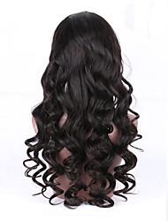 Недорогие -Необработанные натуральные волосы Полностью ленточные Парик Бразильские волосы Волнистый Черный Парик С конским хвостом 130% Плотность волос с детскими волосами Природные волосы Черный Жен.