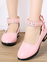 cheap -Girls' Shoes PU Spring / Fall Flower Girl Shoes / Tiny Heels for Teens Heels for White / Black / Pink