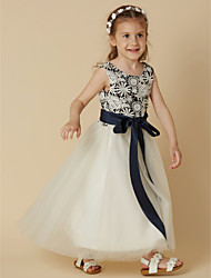 cheap -A-Line Tea Length Flower Girl Dress - Lace Satin Tulle Sleeveless Scoop Neck with Bow(s) Sash / Ribbon by LAN TING BRIDE®