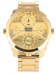 cheap -Oulm Men's Quartz Military Watch Fashion Watch Sport Watch Chinese Large Dial Three Time Zones Alloy Band Luxury Fashion Gold Rose