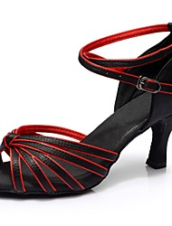 cheap -Women's Latin Shoes Satin Sandal / Heel Splicing Flared Heel Customizable Dance Shoes Black / Red