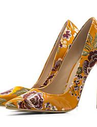 preiswerte -Damen Schuhe Seide Frühling Herbst Pumps Komfort High Heels Stöckelabsatz für Schwarz Gelb Blau