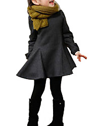 cheap -Girl's Daily Sports Solid Dress, Cotton Winter Long Sleeves Dresswear Black Gray Red