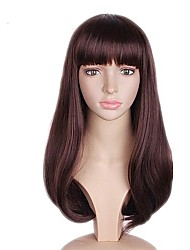 cheap -Synthetic Wig Straight Bob Haircut / Layered Haircut Synthetic Hair Natural Hairline Brown Wig Women's Long Capless