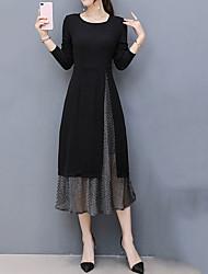 cheap -Women's Plus Size Going out Sheath Dress - Patchwork Black, Split
