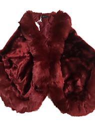 Недорогие -Жен. Повседневные Осень / Зима Обычная Пальто с мехом, Однотонный Квадратный вырез Рукав до локтя Искусственный мех Красный / Серый / Винный Один размер