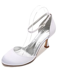 cheap -Women's Shoes Satin Spring / Summer Comfort / D'Orsay & Two-Piece Wedding Shoes Kitten Heel Round Toe Blue / Champagne / Ivory