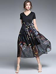 baratos -Mulheres Sofisticado Moda de Rua balanço Vestido - Laço, Abstrato Longo
