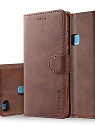 Недорогие -Кейс для Назначение Huawei P10 Lite P10 Plus Бумажник для карт Кошелек со стендом Флип Чехол Однотонный Твердый Кожа PU для P10 Plus P10