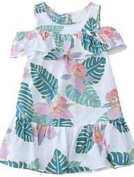 abordables -Robe Fille de Quotidien Vacances Imprimé Coton Polyester Printemps Eté Manches Courtes Mignon Actif Blanc Rouge Marine
