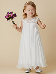cheap -Sheath / Column Ankle Length Flower Girl Dress - Chiffon Short Sleeve Jewel Neck with Beading / Draping by LAN TING BRIDE®