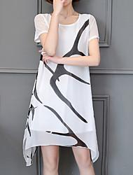 povoljno -Žene Jednostavan Šifon Swing kroj Haljina - S izrezom Print, Color block Asimetričan