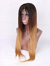Недорогие -Не подвергавшиеся окрашиванию Парик Бразильские волосы Прямой Средняя часть 130% плотность Волосы с окрашиванием омбре Блондинка Средняя