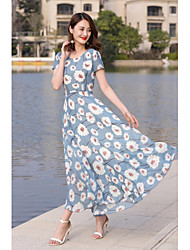 cheap -Women's Going out / Holiday Street chic Slim Chiffon / Swing Dress - Floral Print High Waist Maxi