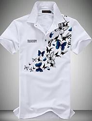 Недорогие -Муж. Polo Рубашечный воротник Активный Цветочный принт / С короткими рукавами