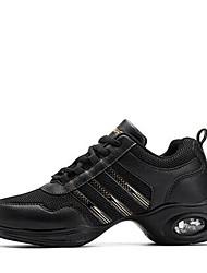 abordables -Mujer Zapatillas de Baile PU microfibra sintético / Malla respirante Zapatilla Tacón Bajo Personalizables Zapatos de baile Blanco / Negro