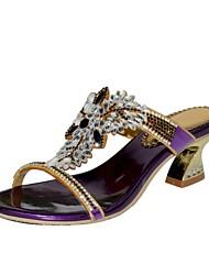 Недорогие -Жен. Обувь Полиуретан Весна Лето Модная обувь Сандалии На толстом каблуке Открытый мыс Стразы Кристаллы Лак Пряжки для Повседневные Для