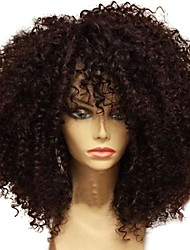 cheap -Unprocessed Human Hair Lace Front Wig Brazilian Hair Curly Wig Layered Haircut 130% African American Wig / For Black Women Black Women's Short / Long / Mid Length Human Hair Lace Wig