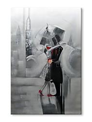 billige -Hang-Painted Oliemaleri Hånd malede - Abstrakt Mennesker Moderne Lærred