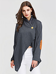 preiswerte -Damen Einfarbig T-shirt, V-Ausschnitt Lose Baumwolle Kunstseide