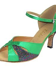 cheap -Women's Latin Satin Heel Indoor Customized Heel Coffee Green Customizable