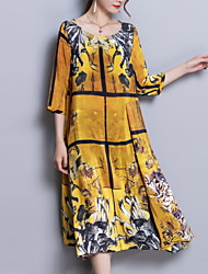 cheap -Women's Silk Slim Sheath Dress - Floral
