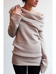 Недорогие -Жен. Уличный стиль Длинный рукав Свободный силуэт Пуловер - Однотонный С открытыми плечами / Весна