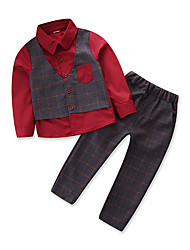 cheap -Boys' Party Going out Patchwork Clothing Set, Cotton Polyester Spring Fall Long Sleeves Vintage Street chic Blue Red