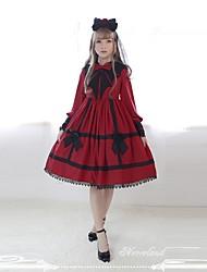 povoljno -Sweet Lolita Slatko Žene Haljine Cosplay Crn Crvena Lolita Dugih rukava Do koljena