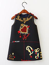 abordables -Robe Fille de Quotidien Vacances Fleur Coton Printemps Eté Sans Manches Rétro Actif Blanc Noir