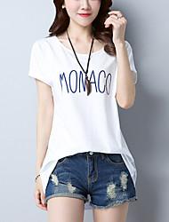baratos -Mulheres Camiseta Básico Patchwork, Listrado Letra