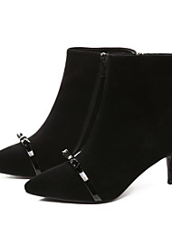 cheap -Women's Shoes Cowhide Nappa Leather Fall Winter Fashion Boots Comfort Boots Stiletto Heel Booties / Ankle Boots for Casual Black Silver