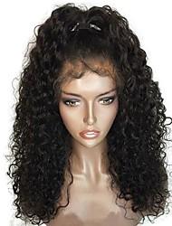 cheap -Virgin Human Hair Full Lace Wig Brazilian Hair Curly Layered Haircut 130% Density With Baby Hair / For Black Women Black Women's Short / Long / Mid Length Human Hair Lace Wig