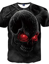 abordables -Hombre Chic de Calle / Punk & Gótico Diario / Discoteca Estampado Camiseta, Escote Redondo Cráneos / Manga Corta