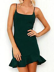 cheap -Women's Holiday Slim Sheath Dress - Solid Colored High Waist Mini Strap