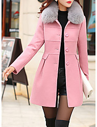 cheap -Women's Street chic Coat-Solid Colored,Fur Trim Shirt Collar