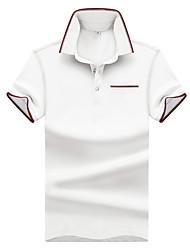 Недорогие -Муж. С принтом Polo Хлопок, Рубашечный воротник Классический Однотонный / С короткими рукавами