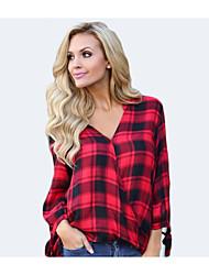 preiswerte -Damen Verziert-Geschäftlich Grundlegend Hemd Druck