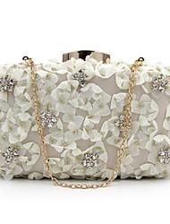 Недорогие -Жен. Мешки Терилен Вечерняя сумочка Кристаллы / Цветы Геометрический принт Белый