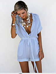 cheap -Women's Holiday Cotton Romper - Solid Colored Deep V / Summer