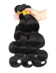 Недорогие -3 Связки Бразильские волосы Естественные кудри Не подвергавшиеся окрашиванию Удлинитель / Распродажа брендовых товаров Черный Естественный цвет Ткет человеческих волос