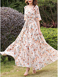 cheap -Women's Plus Size Holiday / Going out Street chic Slim Chiffon / Swing Dress - Floral Print High Waist Maxi V Neck / Spring / Summer